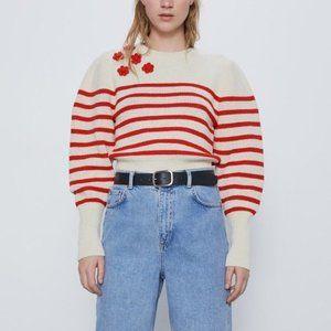 NWOT Zara Pull Knit Cropped Balloon Sleeve Sweater
